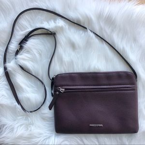 ROOTS women's dark plum pebble crossbody purse bag